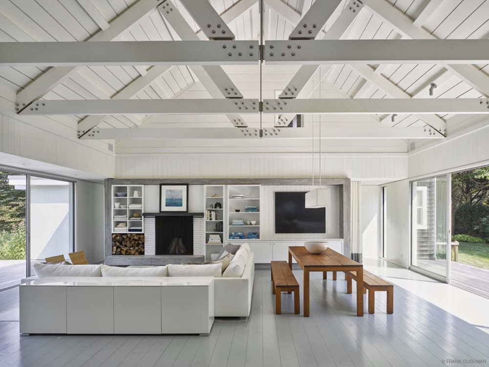 Family/Dining Room in a bright white modern farmhouse.