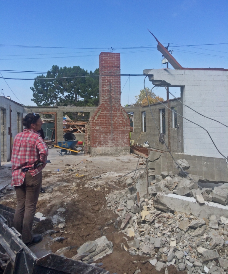 Dominique assesses progress during demolition of the old Palm House.
