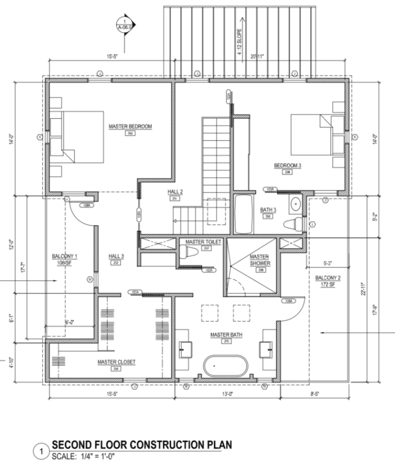 Floor plan for the 2nd floor of the Palm Modern Farmhouse.