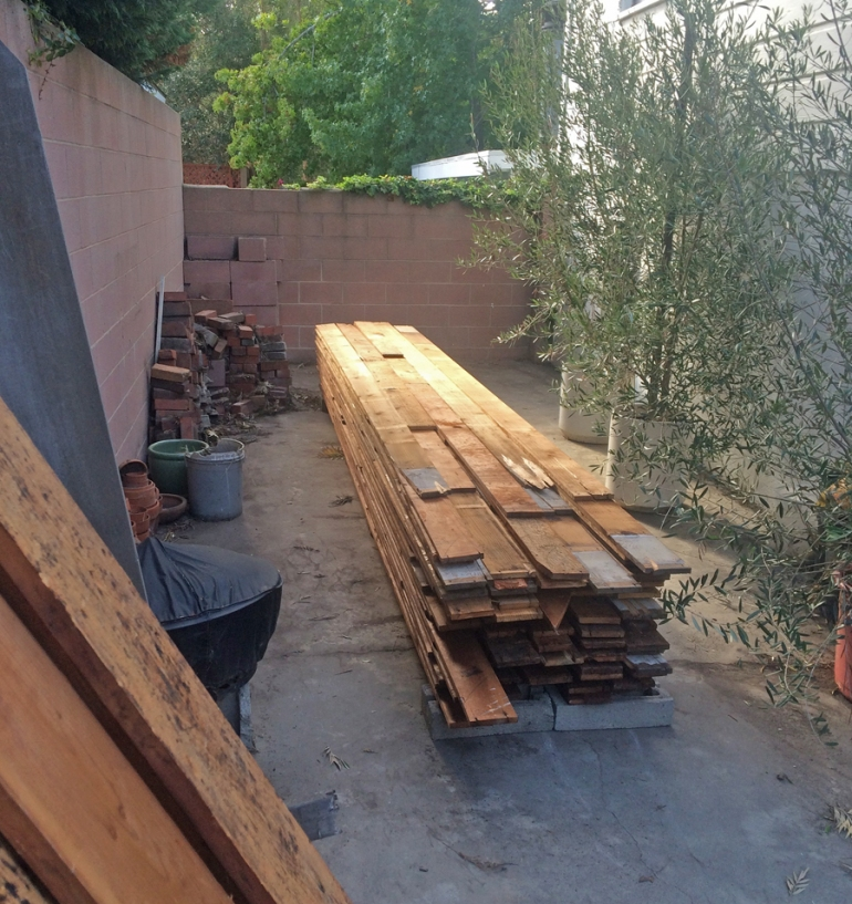 Reclaimed lumber from the original Palm House which was reused in construction of the new farmhouse.